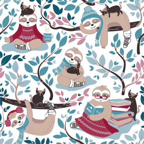Hygge sloth // small scale // white and red fabric by selmacardoso on Spoonflower - custom fabric
