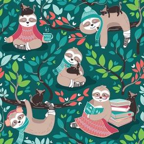 Hygge sloth // small scale // green and orange