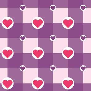 Checkered Pattern with Hearts in Circles