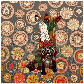 """mandala fox 18"""" panel"""