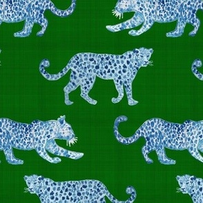 Leopard Parade Blue on Green