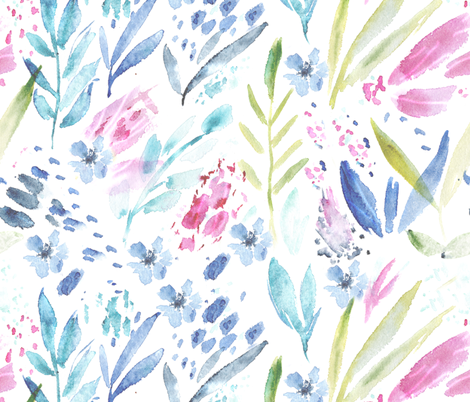 Scandi bloom || watercolor florals fabric by katerinaizotova on Spoonflower - custom fabric