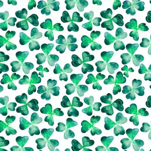 Emerald clover • watercolor nature pattern