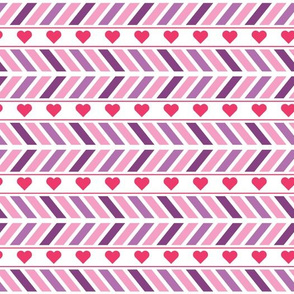 Chevron and Hearts Pattern with Horizontal Lines