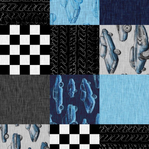 Muscle Car Patchwork - no words - ROTATED - blue and black