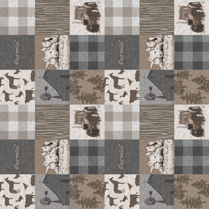 """3"""" Farmin' Quilt - Soft Brown And grey"""