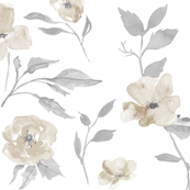 "27"" poppy and rose watercolor floral - cream, Taupe and grey"