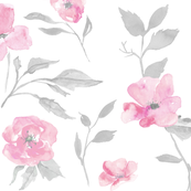 "27"" rose and poppy watercolor floral- pink and grey"