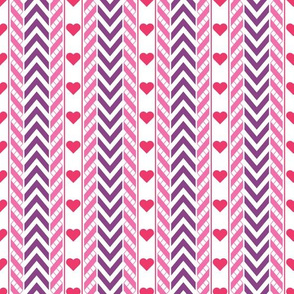 Chevron, Ribbons, Hearts and Vertical Lines Pattern
