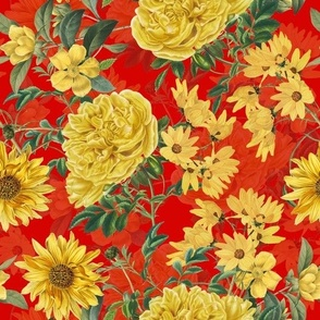 """10"""" Yellow Roses and Sunflowers  on red"""