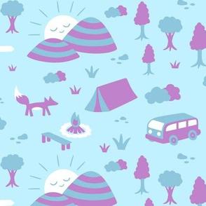 Camping Blue Purple