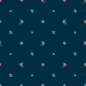 Floral Pattern on a Navy Background