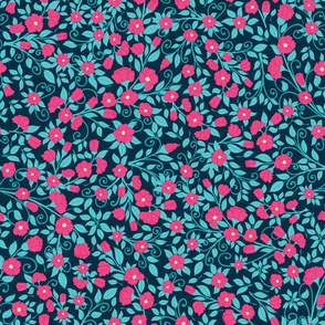 Retro Dense Floral Pattern on a Dark Background