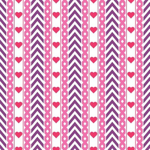 Chevron Pattern With Red Hearts
