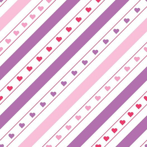Diagonal Lines with Hearts Pattern