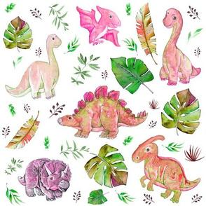 "10"" Retro Colors / Pink & Green Dinos"