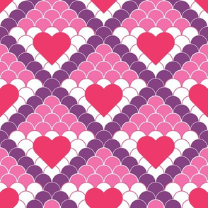 Geometrical Fish Scale Pattern with Hearts