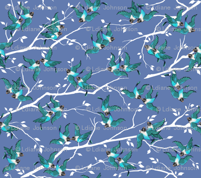 Lovebirds - Love in the Air   Teal-White-Lilac