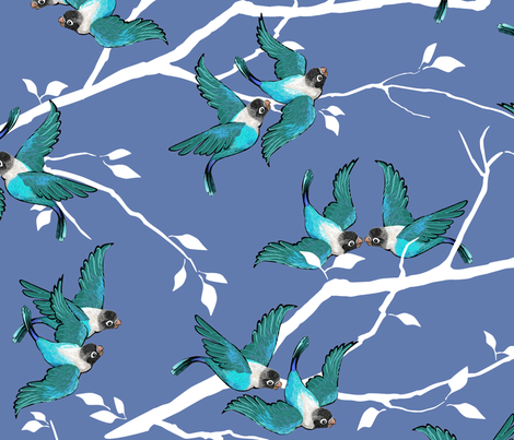 Lovebirds - Love in the Air   Teal-White-Lilac fabric by southwind on Spoonflower - custom fabric