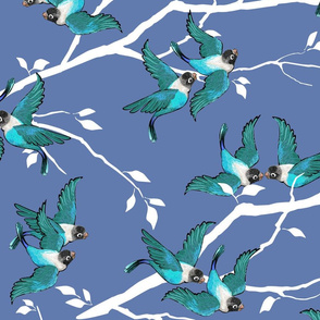Lovebirds - Love in the Air | Teal-White-Lilac