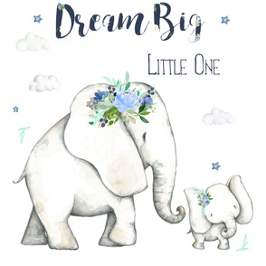 "42""x54"" 2 to 3 Yards of Basic / Dream Big Little One Blue Floral Elephant"