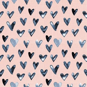 "4"" Navy Watercolor Hearts // Blush Linen"