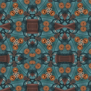 Leather and Copper Gears Teal Steampunk