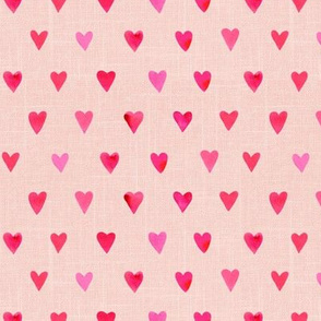 "6"" Pink Watercolor Hearts // Pale Blush Linen copy"