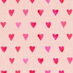 "8"" Pink Watercolor Hearts // Pale Blush Linen copy"