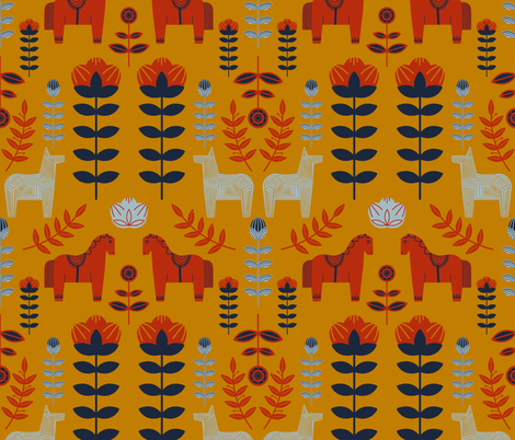 swedish folk fabric by carola_koberstein on Spoonflower - custom fabric
