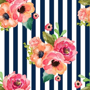 "8"" Floral Polka Navy Stripes 90 Degrees"