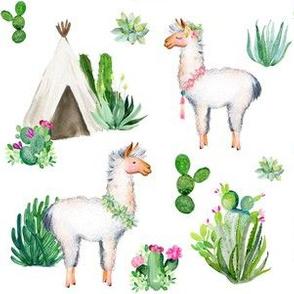 """6"""" 2018 Floral Aztec Llama"""