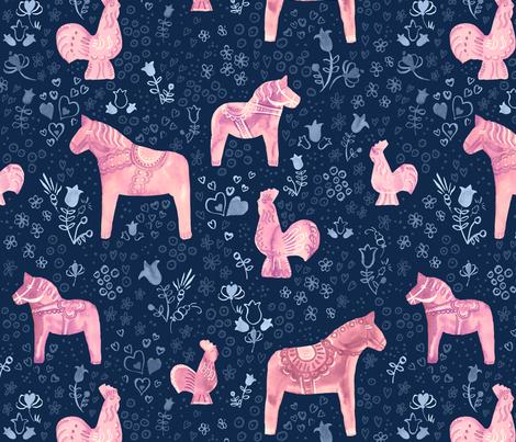 Swedish Dala Horse and Rooster fabric by marketa_stengl on Spoonflower - custom fabric