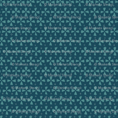 Geometric Florals and Dots / Dark Teal