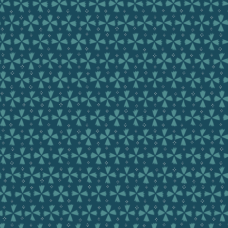 Geometric Florals and Dots / Dark Teal fabric by marketa_stengl on Spoonflower - custom fabric