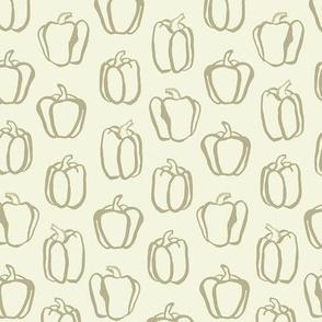 Vintage Kitchen Peppers / Cream