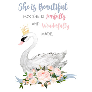 "27""x36"" She is Beautiful Swan Quote"