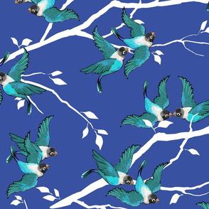 Lovebirds - Love in the Air | Teal-White-Dark Blue