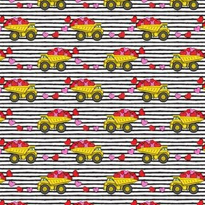 (small scale) tons of love - valentines day trucks with hearts -  black stripes C18BS