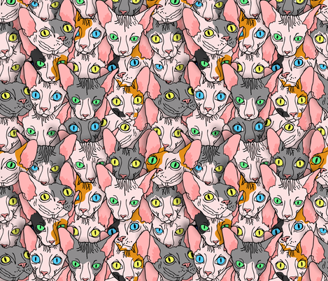 sphynx block diverse  fabric by b0rwear on Spoonflower - custom fabric