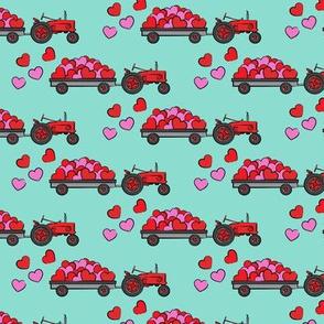 vintage tractors - valentines day hearts - aqua fabric