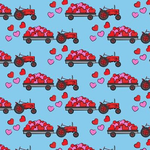 vintage tractors - valentines day hearts - blue fabric