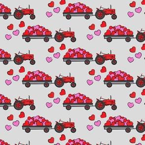 vintage tractors - valentines day hearts - grey fabric