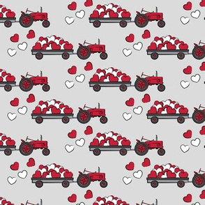 vintage tractors - valentines day hearts - red & grey fabric