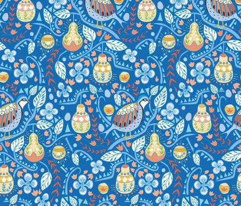Folk art partridge in a pear tree fabric by katie_hayes on Spoonflower - custom fabric