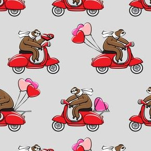 Scooter Sloths  - Valentine's Day - Grey