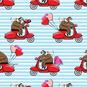 Scooter Sloths  - Valentine's Day - Blue Stripes