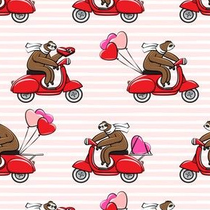 Scooter Sloths  - Valentine's Day - Pink Stripes