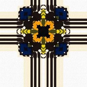 blue squares african linen
