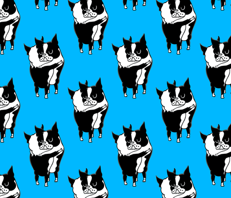 Boston Terrier Hugs fabric by huebucket on Spoonflower - custom fabric